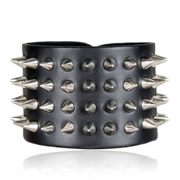 Metal Studs Leather Bracelet