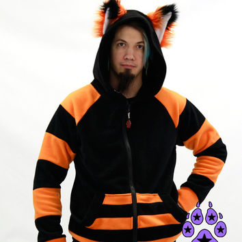 SALE 15Off Pawstar STRIPEY Fox yip HOODIE with Ears - You pick the Color - Anime Cosplay Goth Costume Partial FurSuit Halloween Kitsune 6130