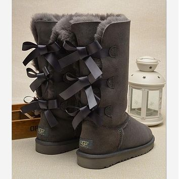 """UGG"" Women Fashion Wool Snow Boots Calfskin Shoes cute three bowknot Grey"