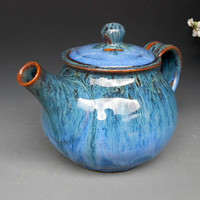 Personal Teapot Blue Glaze by darshanpottery on Etsy