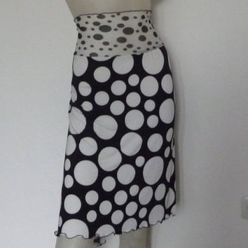 Argentine Tango  & Salsa Skirt amazing Fishtail black and white Dots  with high Waist stretchy Lace  Dancewear Tango Jupe