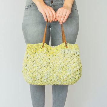BAG //Green bag  Lime Summer Bag - Shoulder Bag  Genuine Leather Straps / Handles Shoulder Bag - Crochet Bag