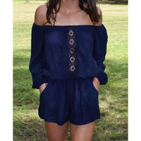 Slash Collar Long Sleeve Hollow Out Pocket Design Women's Romper   Kitty's Clawset