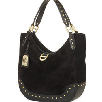 Lauren Ralph Lauren Saddle Brook Suede Studded Hobo