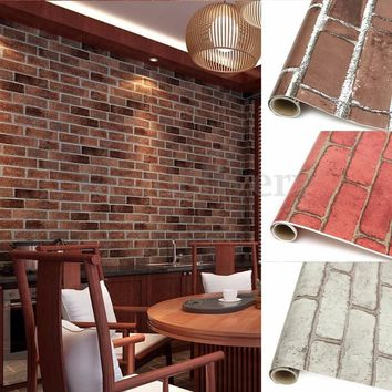 1 Pc Red/Grey/Coffee PVC Realistic Real Look Bricks Rock Wall Paper Prepasted Adhesived Wallpaper Wall Stickers Home Living Room