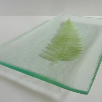 Fossil Vitra Fused Glass Fern Platter