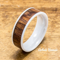 Ceramic Ring Wedding Ring with Koa Wood (4mm - 8 mm width, Flat Style)