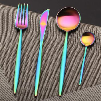 Stainless Steel Rainbow Utensils Cutlery Set (4 PCS/SET)