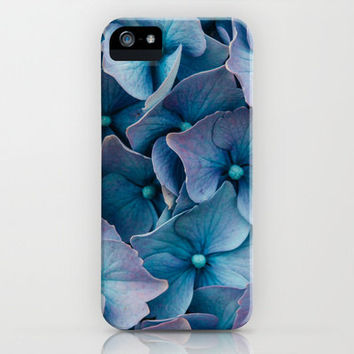 Blue Hydrangeas Art Print iPhone 6, 5, 4 and 3 Cases, Samsung Galaxy Cases, Both Slim & Tough Cases, Blue Floral Art Print Phone Cover.