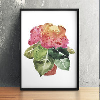 Watercolor print Potted plant art Flower poster Botanical print ACW639