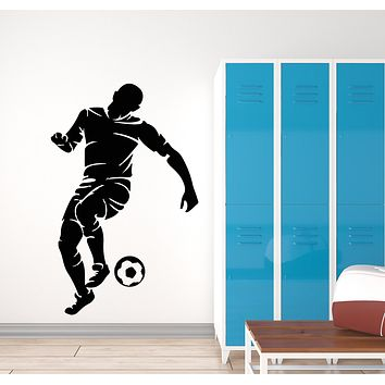 Vinyl Wall Decal Silhoutte Soccer Player Ball Teen Room Sport Stickers Mural (g939)