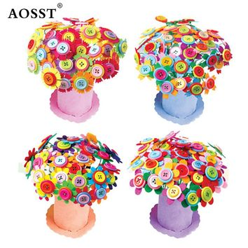 Buttons Bouquets flower DIY material package decorative paper cord children craft handmade creative gift education toys