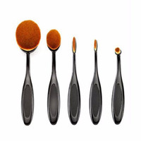 5 PC Oval Toothbrush Shaped Makeup Cosmetic Contour Foundation Brush Set