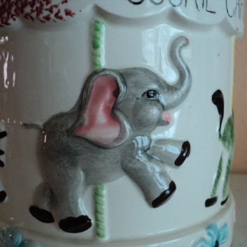 Vintage Cookie Jar Ceramic Hand Painted Animals Carousel Merry Go Round with Animals for Christmas Holiday Gift