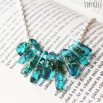Aqua Blue Transparent Resin necklace - Resin beads - Metallic Golden Flakes - Modern Necklace  Gift for her - Anniversary Gift - Unique