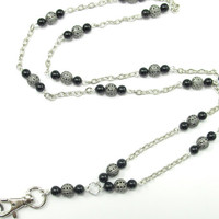 Fashion ID Badge Lanyard Necklace with Pearls and Filigree Beads