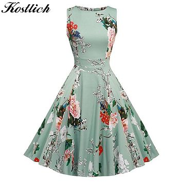 Kostlich Floral Print Summer Dress Women  Sleeveless Tunic 50s Vintage Dress Belt Elegant Rockabilly Party Dresses Sundress
