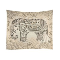 Indian Tapestry Mandala Meditation Zen Wall Batik Elephant Pattern Tapestry Indian Dorm Hanging Decorations
