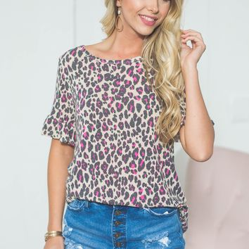 Madison Leopard Flutter Sleeve Top