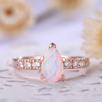 opal engagement ring rose gold 14k/18k Tear drop pear shaped or 925 sterling silver with Man made CZ diamond