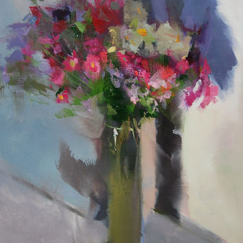 Contemporary painting still life, Pink flowers painting, Oil floral painting, Bunch of colorful flowers artwork