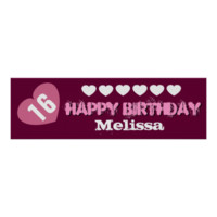 16th Birthday Star Banner Custom Teen V02B HEARTS Print