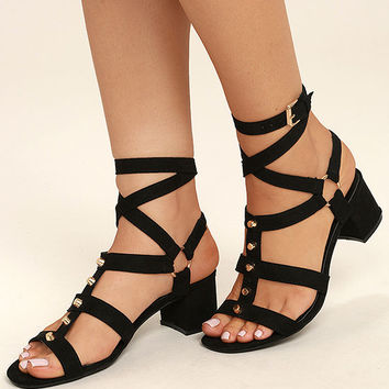 Galina Black Suede Studded Leg Wrap Heels