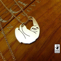 Cute Sloth Necklace Pendant Plated Gold Silver - D