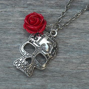 Lucky 13 Silver Skull Necklace with Red Rose by InkandRoses13
