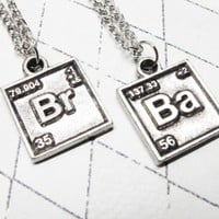 Br Ba Chemical Symbol Necklaces, set of two, inspired by Breaking Bad