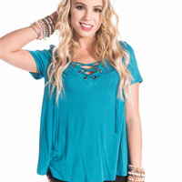 Harley Turquoise Lace-Up Top