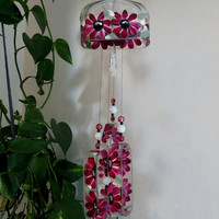 Recycled Knob Creek bottle wind chime, Yard art, Maroon flowers, Patio decor, Square bottle wind chime, Upcycled bottle, sun catcher