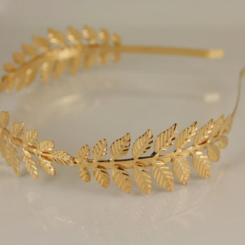 Gold laurel crown headband leaf leaves shiny metal thin skinny hair band accessory bridal wedding prom