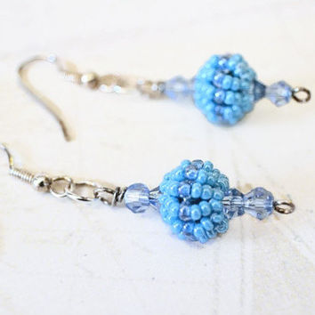 Blue Beaded Crystal Earrings, Beaded Bead Earrings, Blue Seed Bead Earrings, Beaded Jewelry, Dangle Earrings, Gift for Her, Gift Idea
