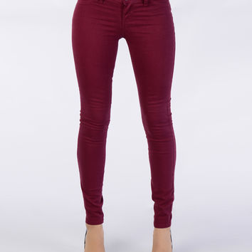 Burgundy Skinny Pants - Bottoms - Clothing