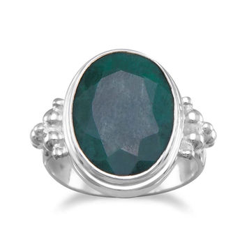 "Oval ""Emerald"" Ring Sterling Silver Band With Bead Design"