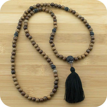 Robles Wood Meditation Mala Beads Necklace with Lava Rock