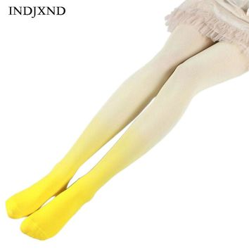 Candy Colorful Gradient Summer Stockings Women Strumpfhose Girl Tights Fashion Patchwork Ombre Hand Dye Thick Lolita Pantyhose