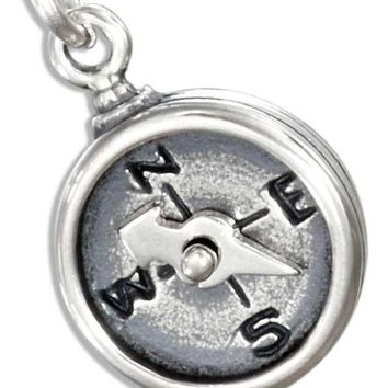 Sterling Silver Compass Charm With Moveable Needle