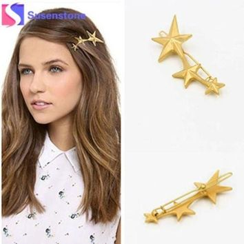 DCCKJY1 2016 Promotion Barrettes Trendy Acrylic Zinc Alloy Star New Korean Three Stars Hairpin Side Clip Hair Accessories Jewelry