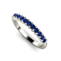 14K Blue Sapphire Band Blue Sapphire Ring Anniversary Band Wedding Ring September Birthstone