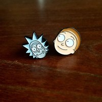 Rick and Morty Minihead Pin Pair