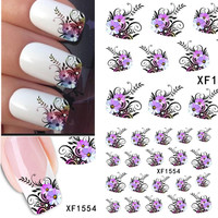 1sheets Hot DIY Designs Pretty Flower Water Stickers Nail Art Manicure Polish Tools Beauty Nail Art Stickers Decals TRXF1554