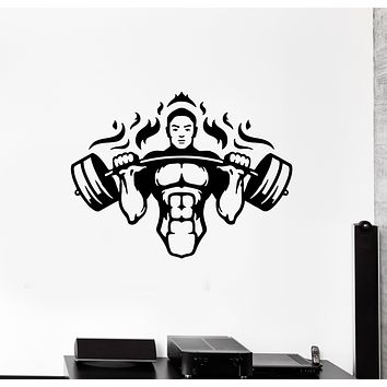 Wall Decal Gym Athlete Sport Fitness Workout Vinyl Sticker (ed1343)