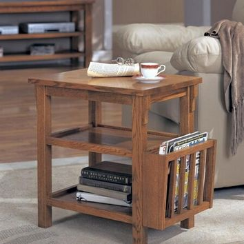 Dark oak finish wood chair side end table with built in magazine rack Clearance