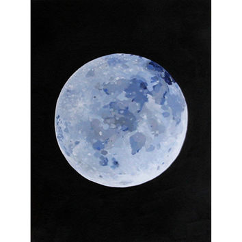 Original acrylic painting of the moon, the universe at night, 30 x 40 cm (11,8'' x 15,8''), on acid free paper