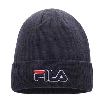 FILA Autumn And Winter New Fashion Embroidery Letter Knit Women Men Keep Warm Cap Dark Gray