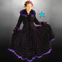 Recycled Sweater Coat- Black  and Purple Gothic Fairy  TUTORIAL