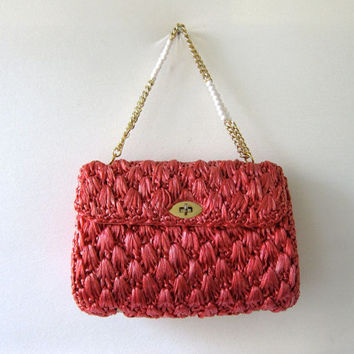 Vintage 60s Woven Pink Purse. Wicker Straw Purse. Shoulder Purse. Basket Purse.