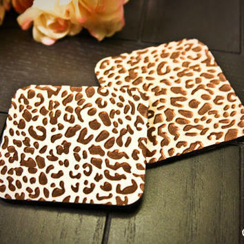 Custom Engraved Cheetah Print Coasters ~ Set of 4